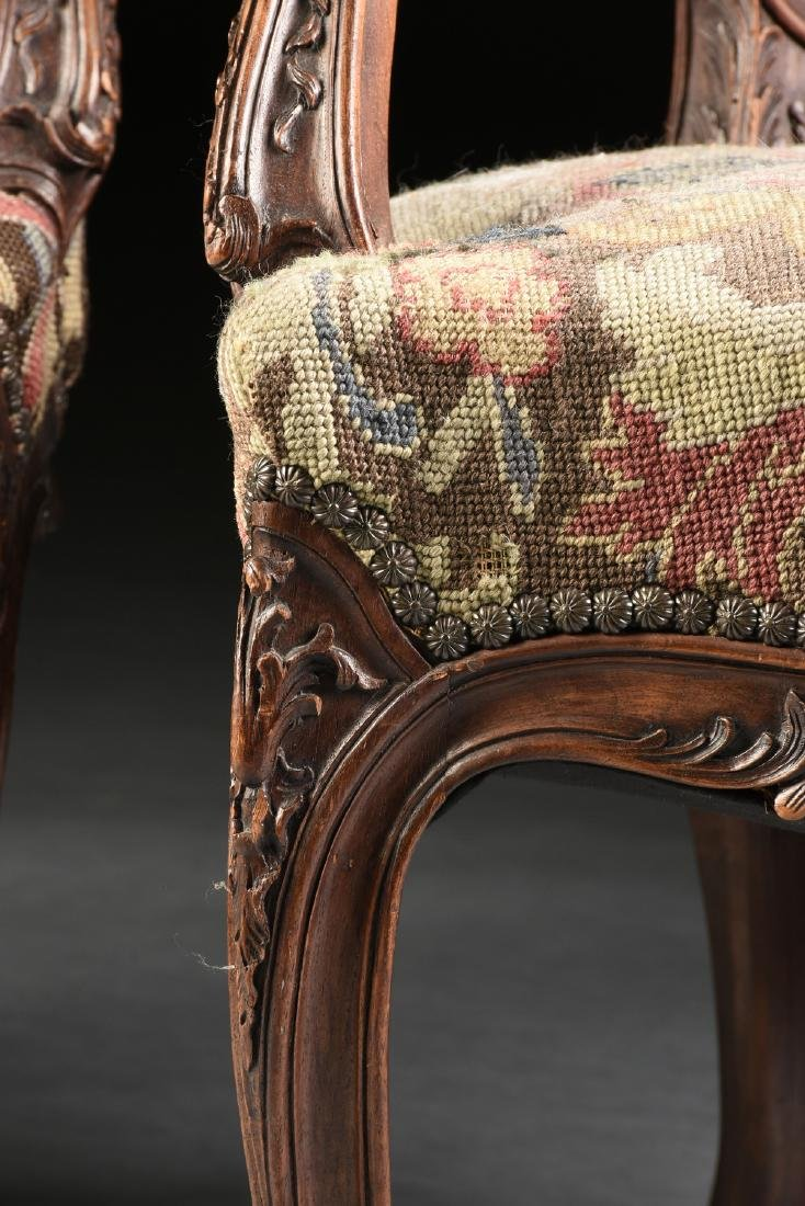 A PAIR OF LOUIS XV STYLE NEEDLEPOINT UPHOLSTERED WALNUT - 9