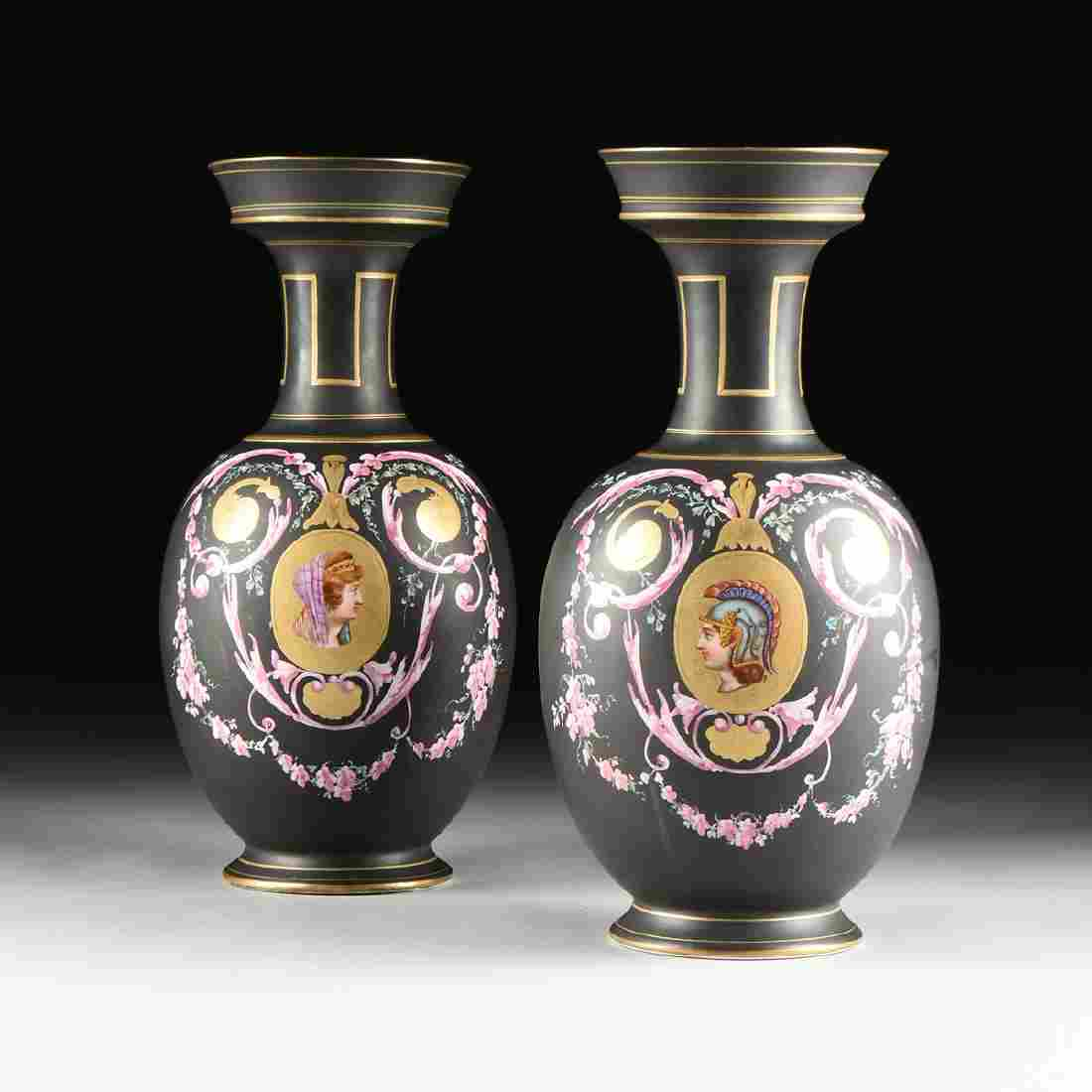 A PAIR OF FRENCH OLD/VIEUX PARIS GILT AND POLYCHROME