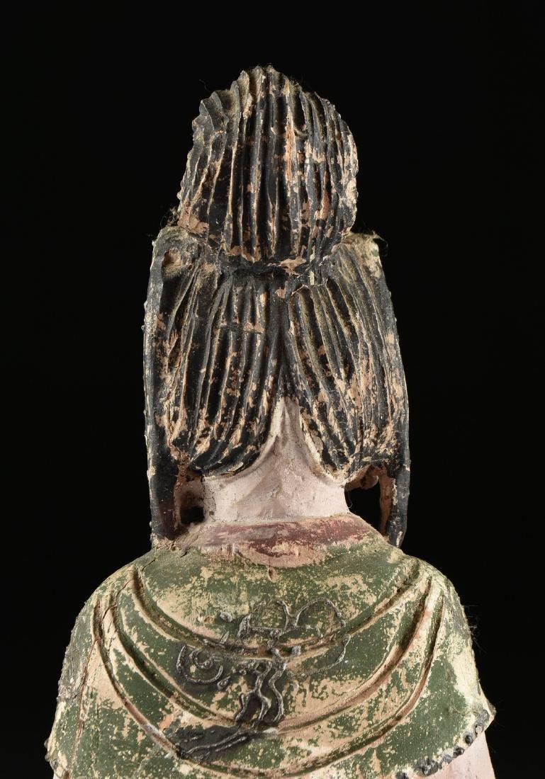 A PAIR OF BUDDHIST POLYCHROME WOOD BODHISATTVA FIGURES, - 10