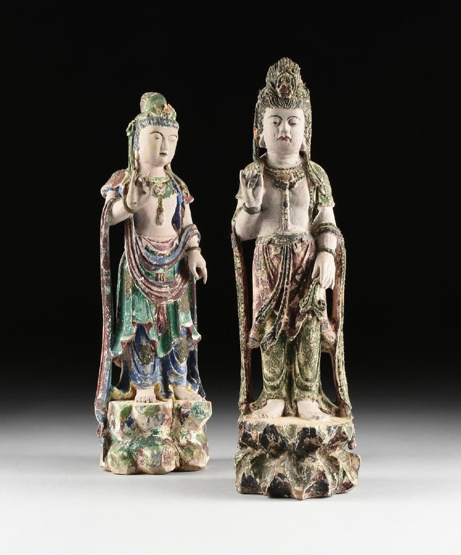 A PAIR OF BUDDHIST POLYCHROME WOOD BODHISATTVA FIGURES,