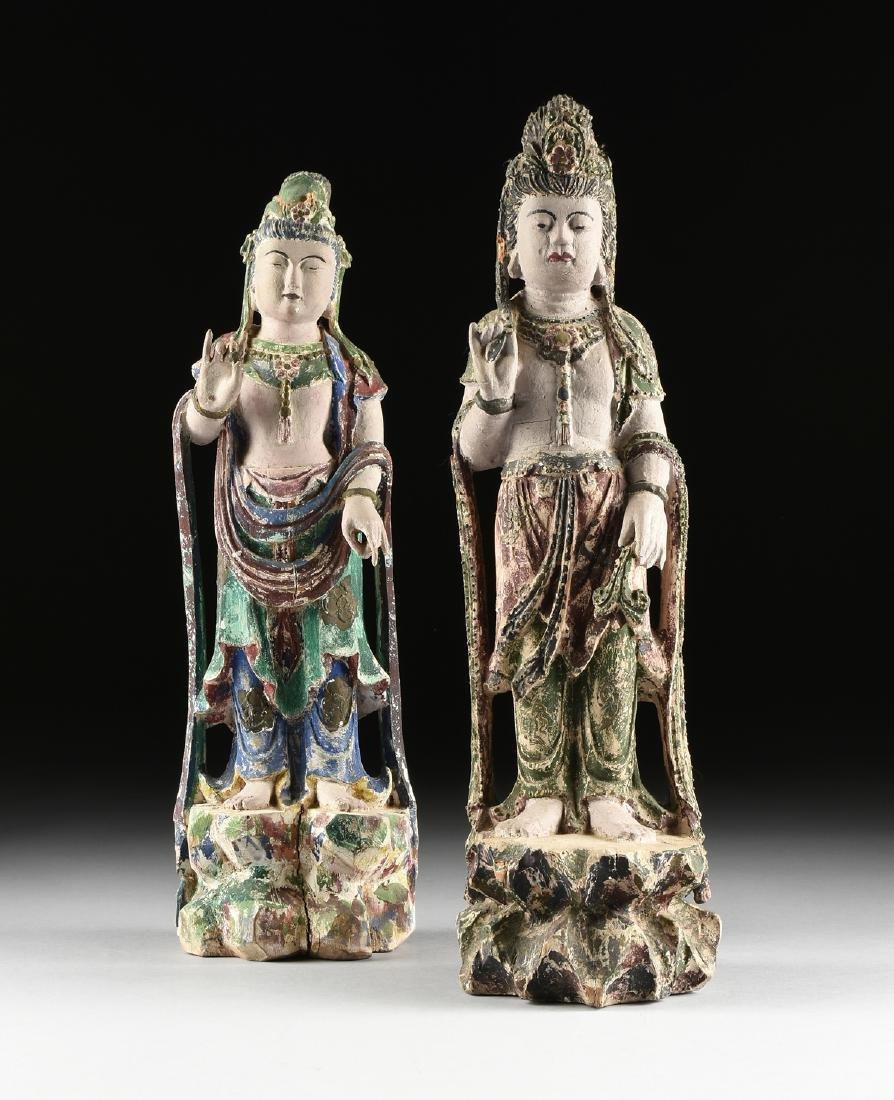 A PAIR OF BUDDHIST POLYCHROME WOOD BODHISATTVA FIGURES, - 2
