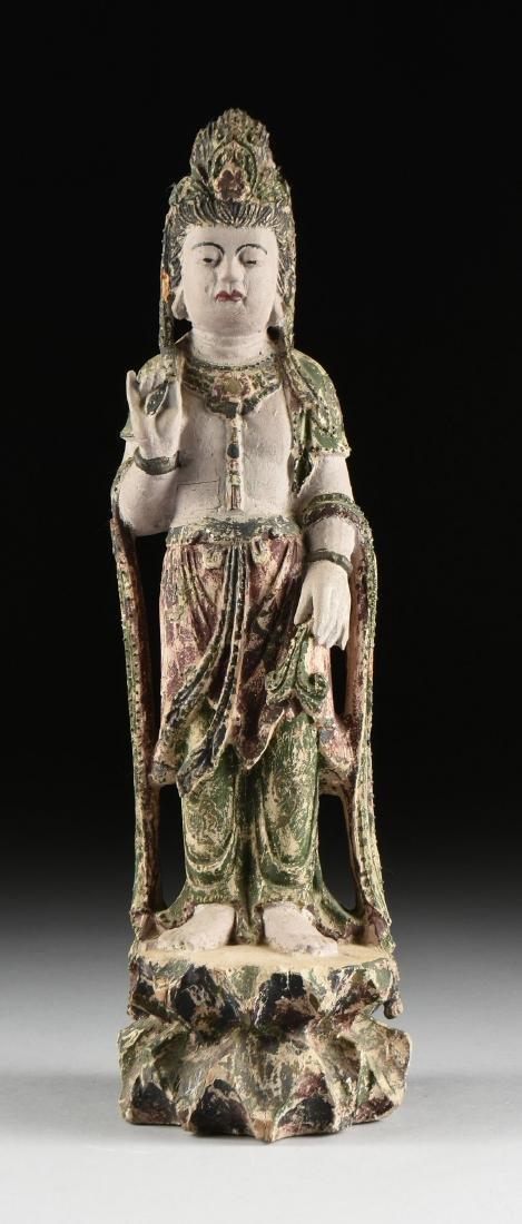 A PAIR OF BUDDHIST POLYCHROME WOOD BODHISATTVA FIGURES, - 3