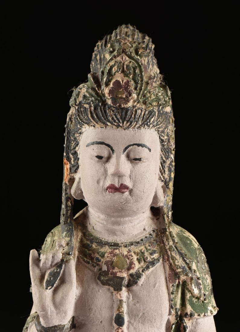 A PAIR OF BUDDHIST POLYCHROME WOOD BODHISATTVA FIGURES, - 4