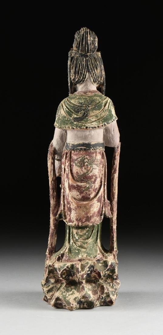 A PAIR OF BUDDHIST POLYCHROME WOOD BODHISATTVA FIGURES, - 9