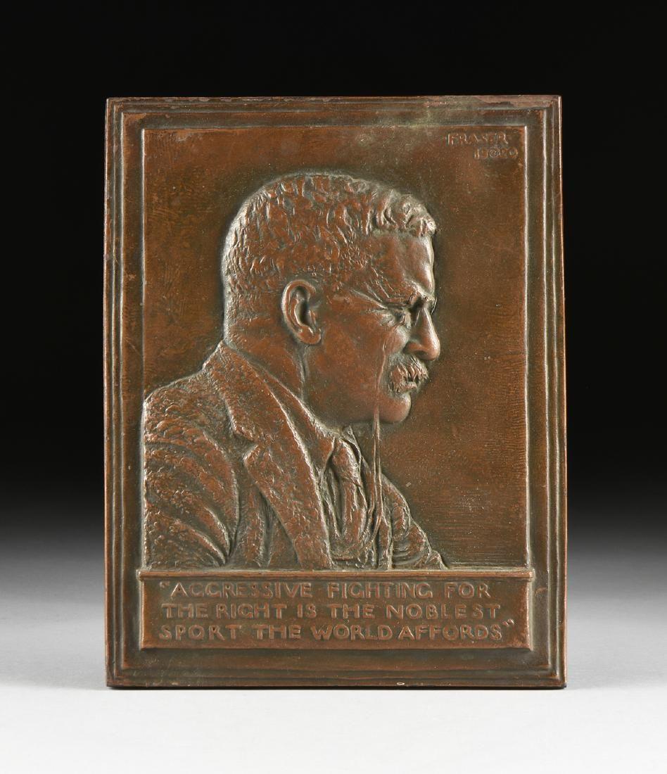 JAMES EARL FRASER (American 1876-1953) A BRONZE PLAQUE,