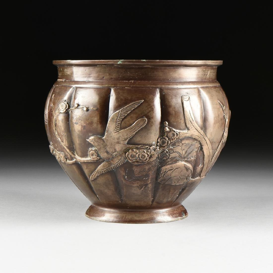 A JAPANESE LATE MEIJI PERIOD BRONZE URN WITH APPLIED
