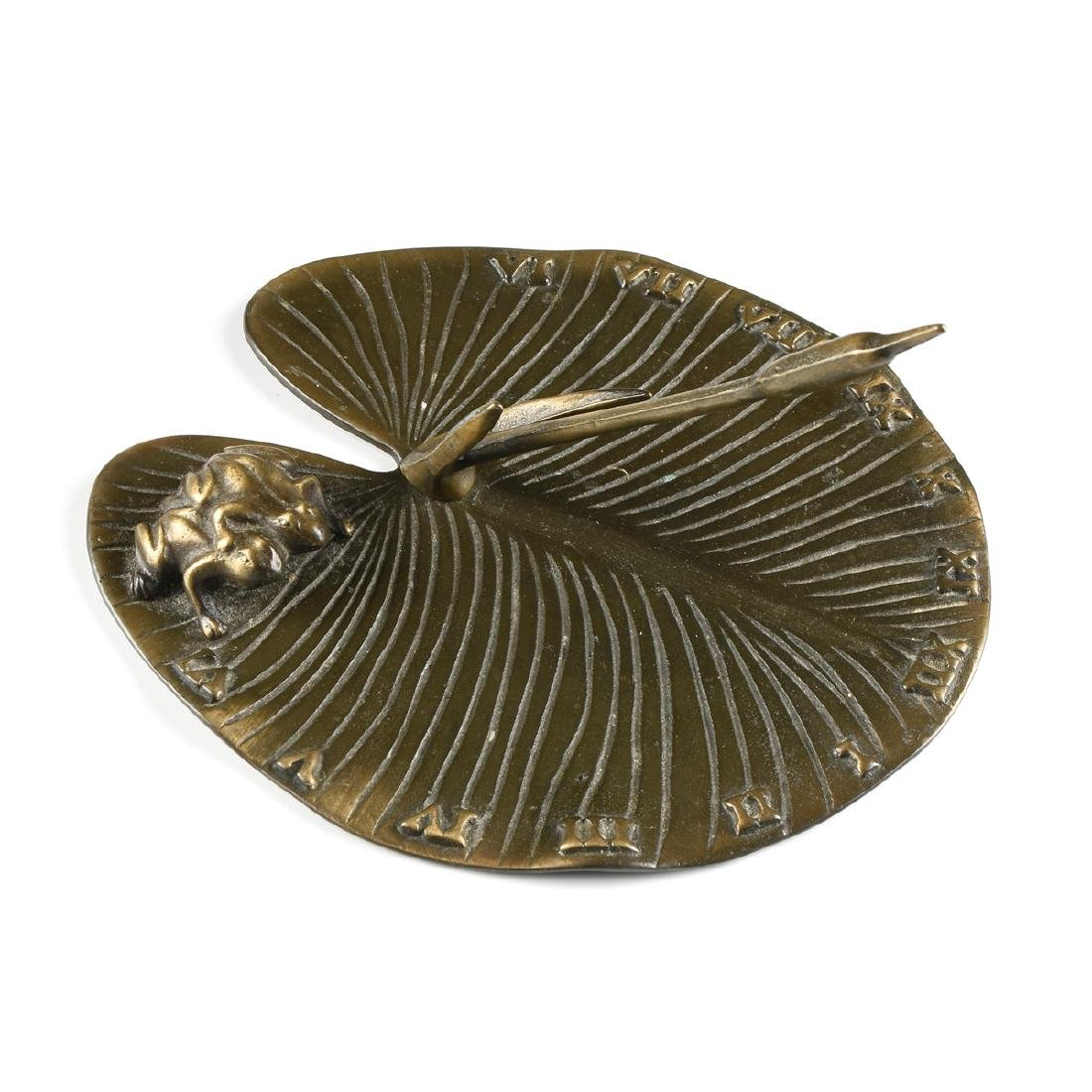 A PATINATED BRONZE LILLY PAD AND FROG SUNDIAL, LATE