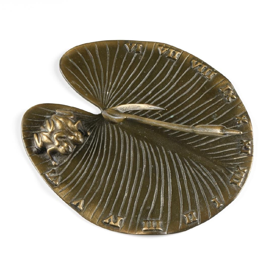 A PATINATED BRONZE LILLY PAD AND FROG SUNDIAL, LATE - 2