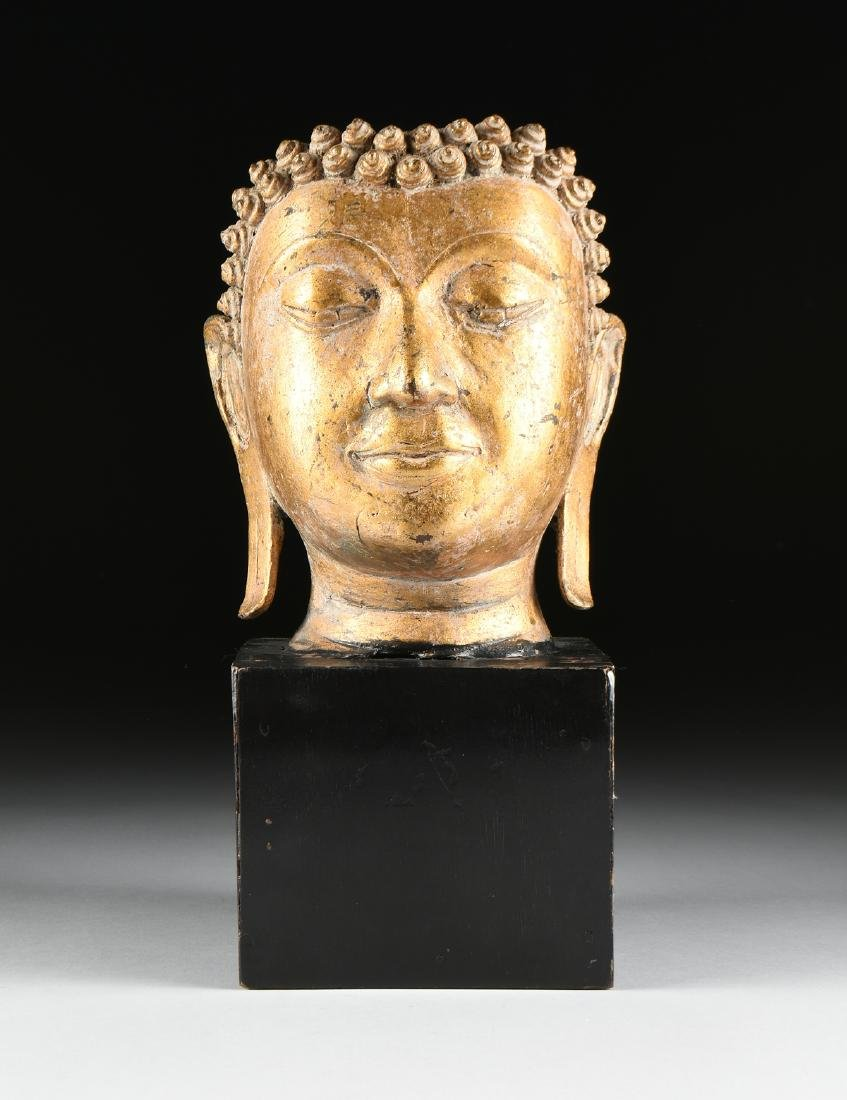 A THAI AYUTTHAYA STYLE PARCEL GILT HEAD OF BUDDHA