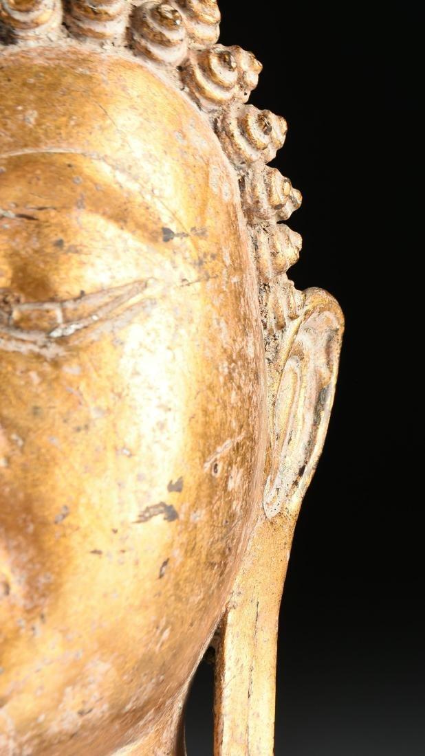 A THAI AYUTTHAYA STYLE PARCEL GILT HEAD OF BUDDHA - 4