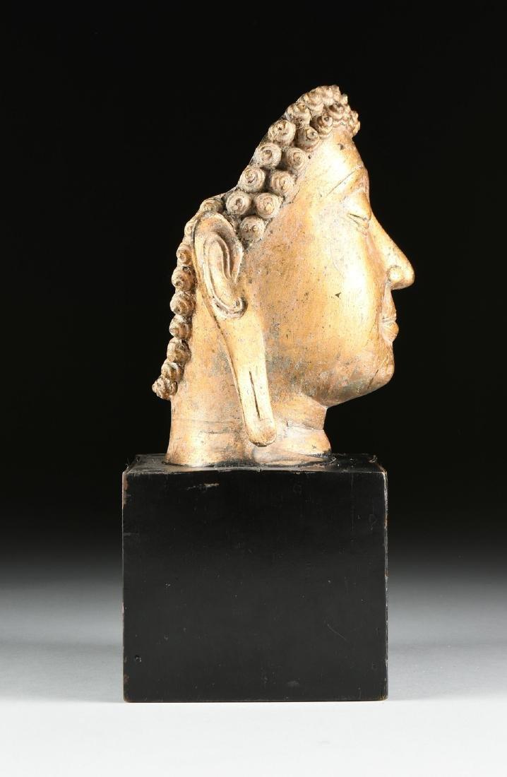 A THAI AYUTTHAYA STYLE PARCEL GILT HEAD OF BUDDHA - 5