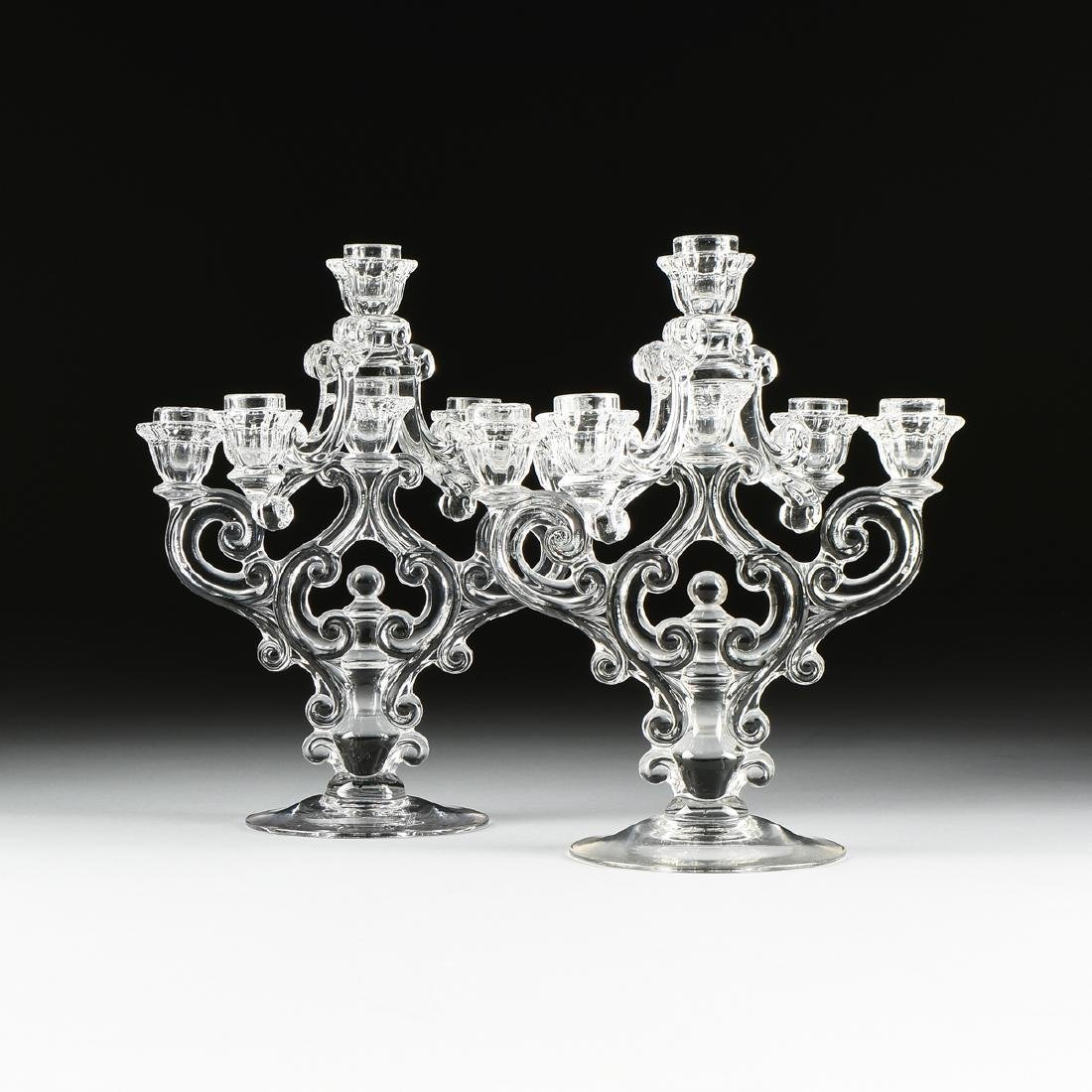 A PAIR OF AMERICAN PRESS MOLDED CLEAR CRYSTAL
