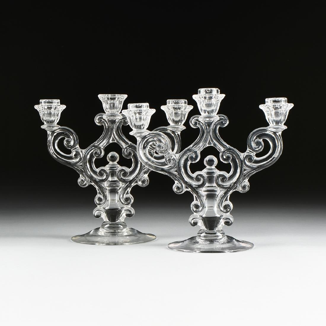 A PAIR OF AMERICAN PRESS MOLDED CLEAR CRYSTAL - 2