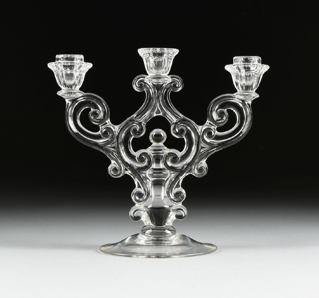A PAIR OF AMERICAN PRESS MOLDED CLEAR CRYSTAL - 4