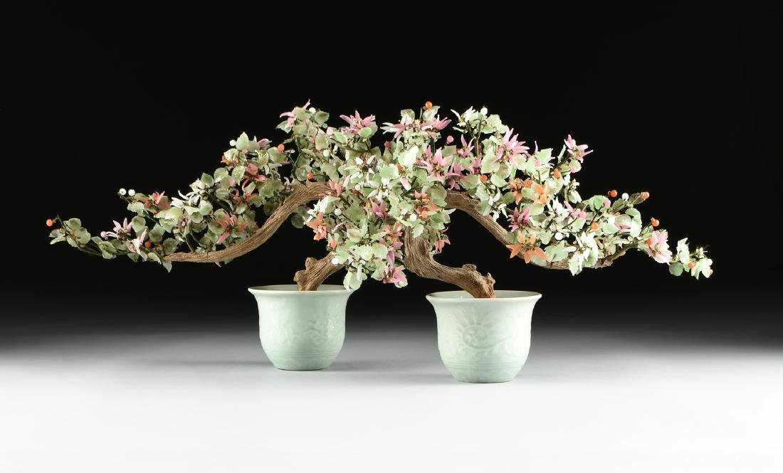 PAIR OF CHINESE VARIOUS CARVED HARDSTONE AND JADE TREES