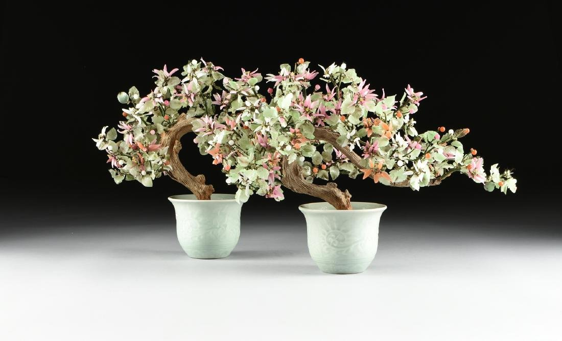 PAIR OF CHINESE VARIOUS CARVED HARDSTONE AND JADE TREES - 2