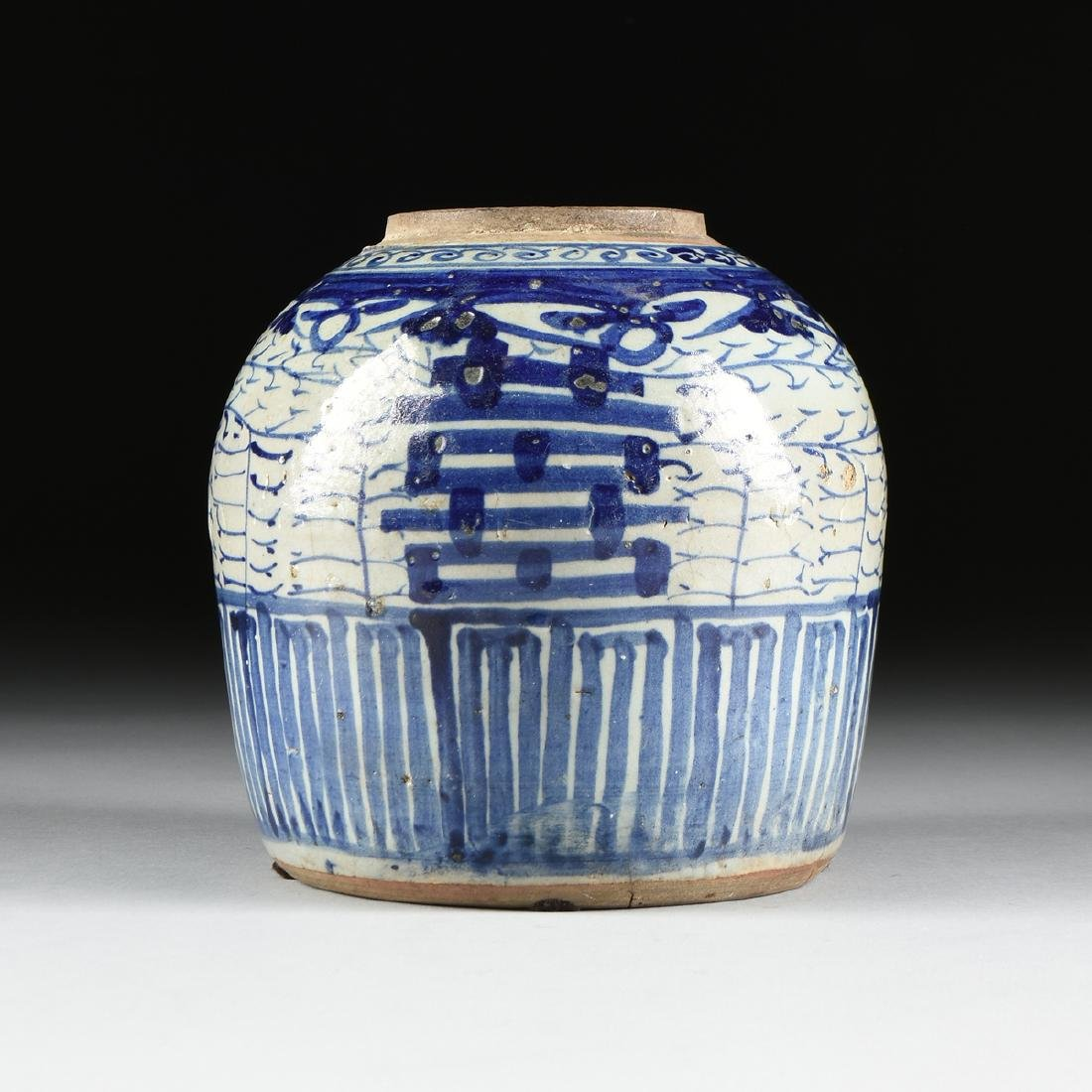 A CHINESE EXPORT BLUE AND WHITE PORCELAIN GINGER JAR,