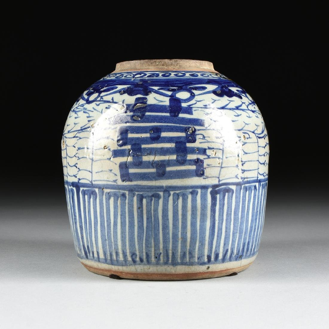 A CHINESE EXPORT BLUE AND WHITE PORCELAIN GINGER JAR, - 2