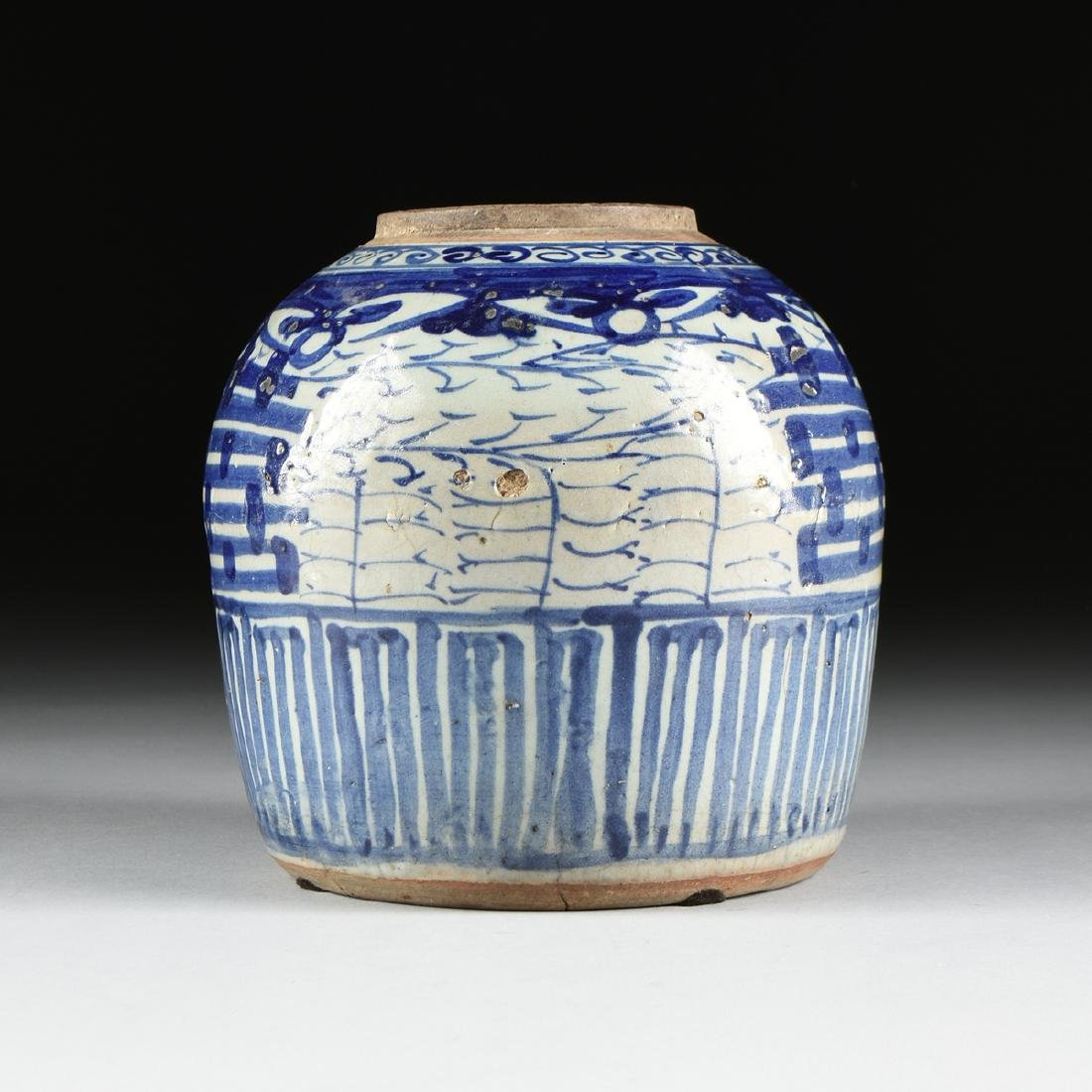 A CHINESE EXPORT BLUE AND WHITE PORCELAIN GINGER JAR, - 5