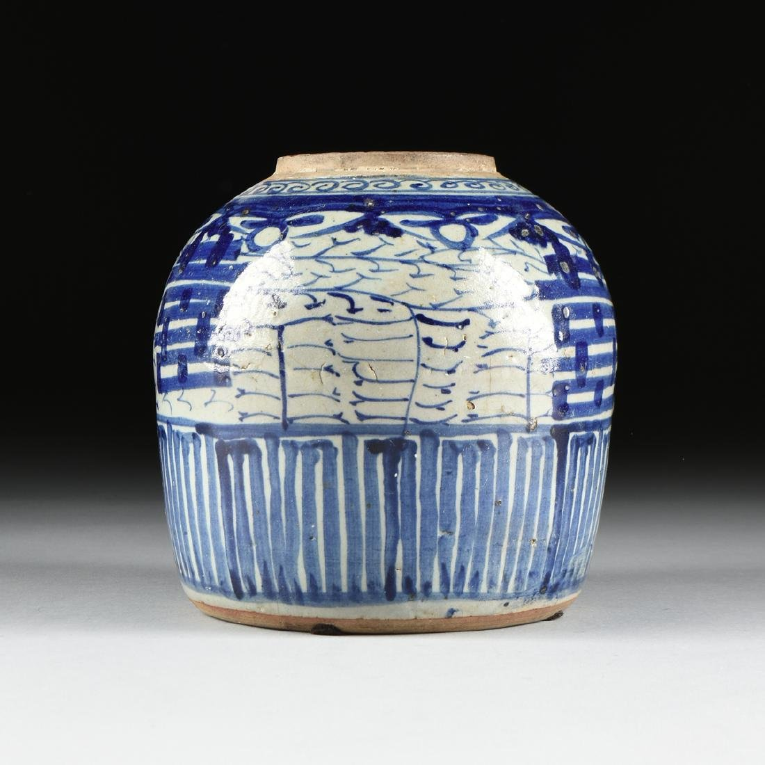 A CHINESE EXPORT BLUE AND WHITE PORCELAIN GINGER JAR, - 6