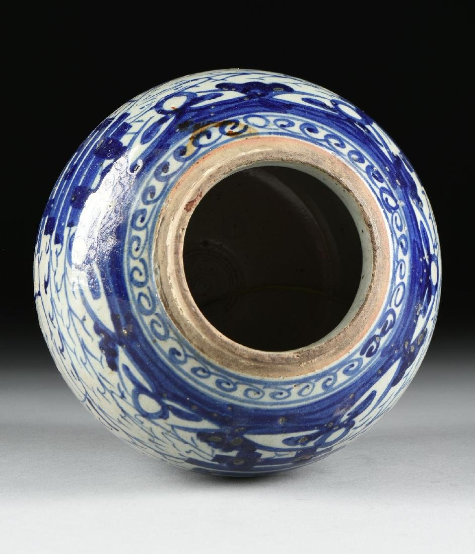 A CHINESE EXPORT BLUE AND WHITE PORCELAIN GINGER JAR, - 7