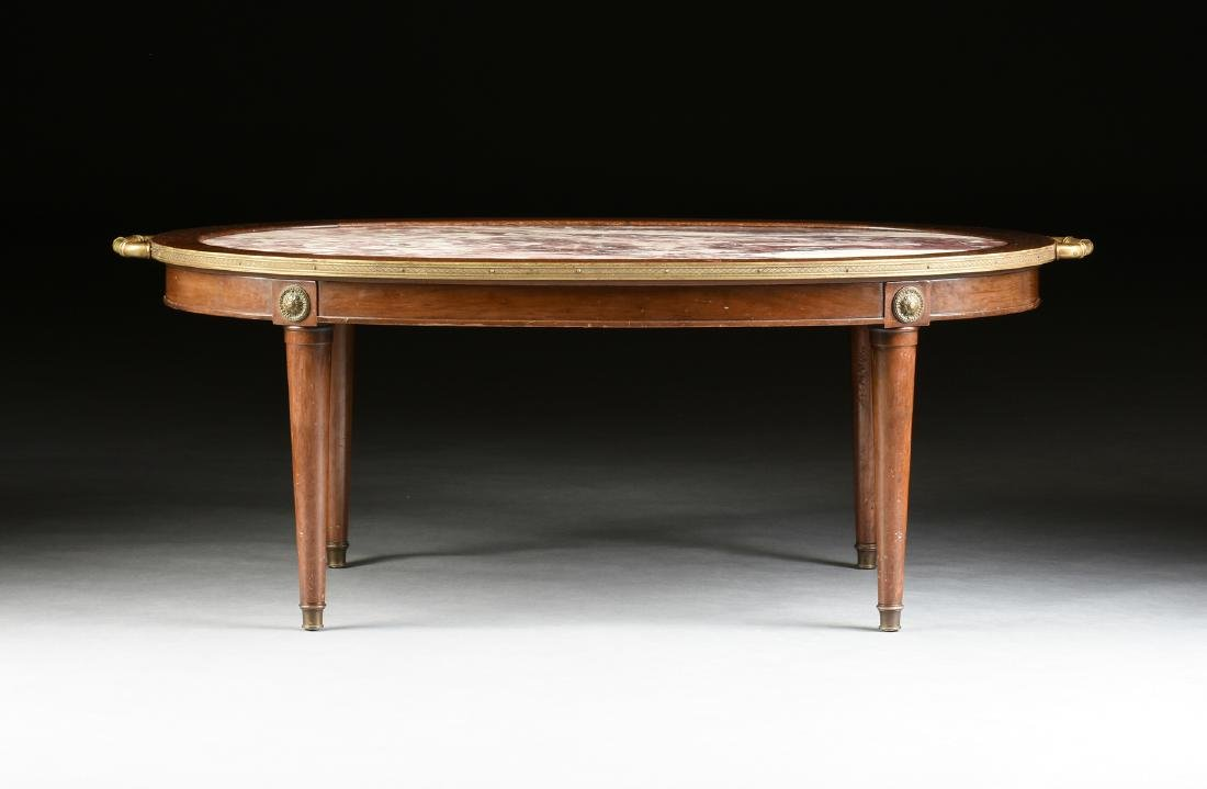A LOUIS XVI STYLE GILT BRONZE MOUNTED AND CARVED WALNUT - 2