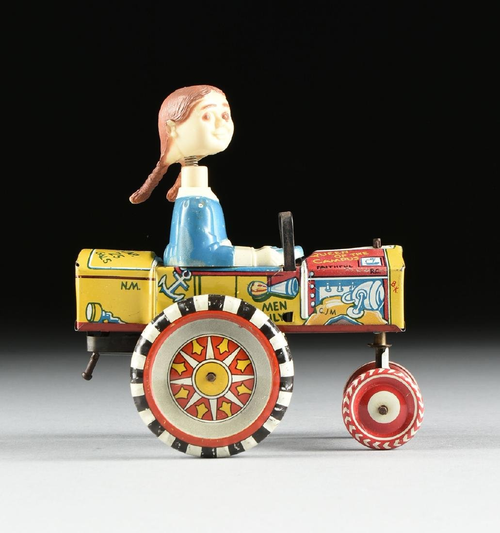 A GROUP OF SEVEN TIN AND METAL CHILD'S TOYS ON WHEELS, - 10