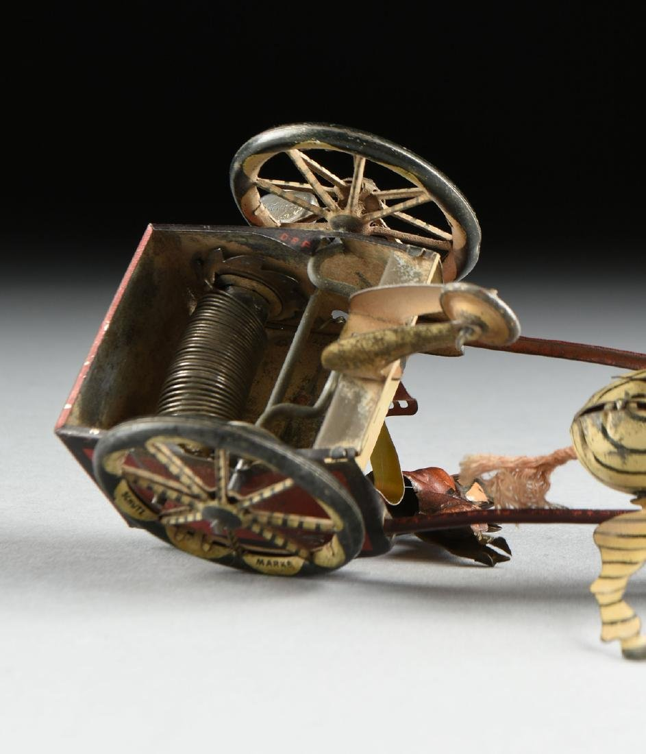A GROUP OF SEVEN TIN AND METAL CHILD'S TOYS ON WHEELS, - 5