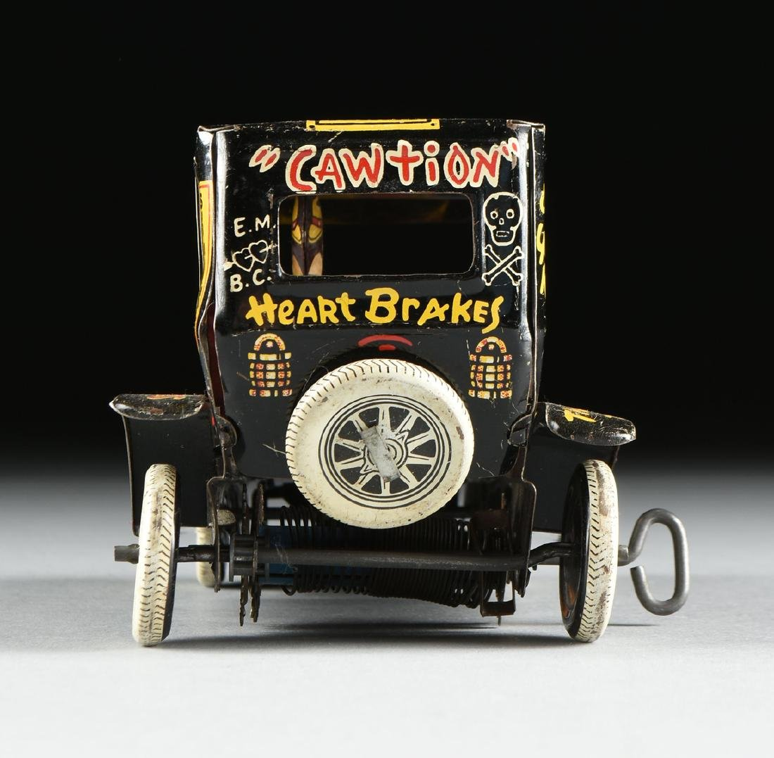 A GROUP OF SEVEN TIN AND METAL CHILD'S TOYS ON WHEELS, - 8