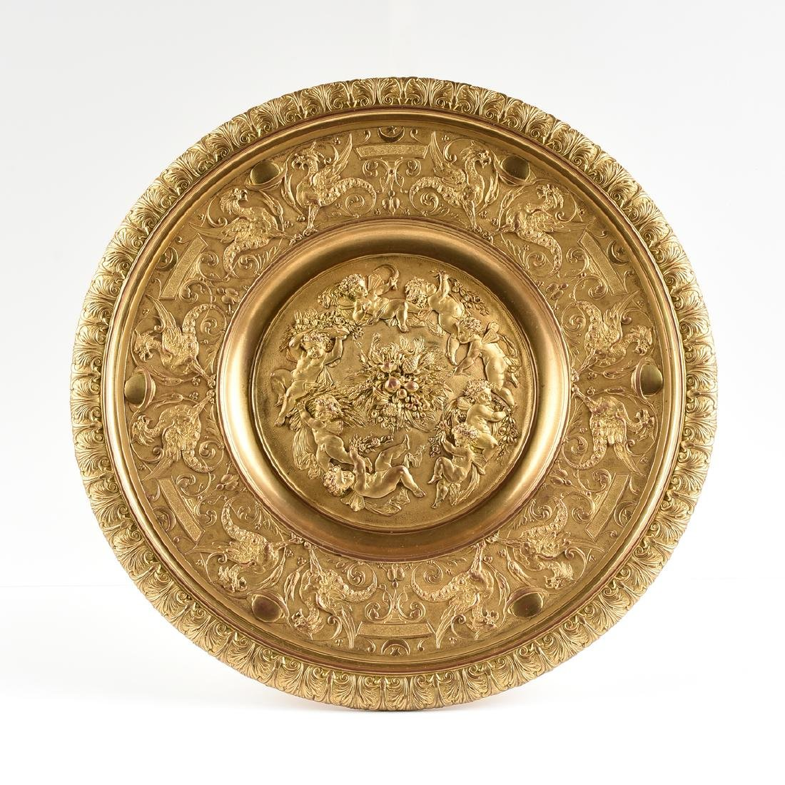 AN ENGLISH OR FRENCH ELECTROTYPE GILT BRONZE TAZZA, - 3