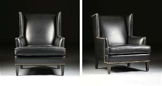 A PAIR OF ETHAN ALLEN BLACK LEATHER UPHOLSTERED