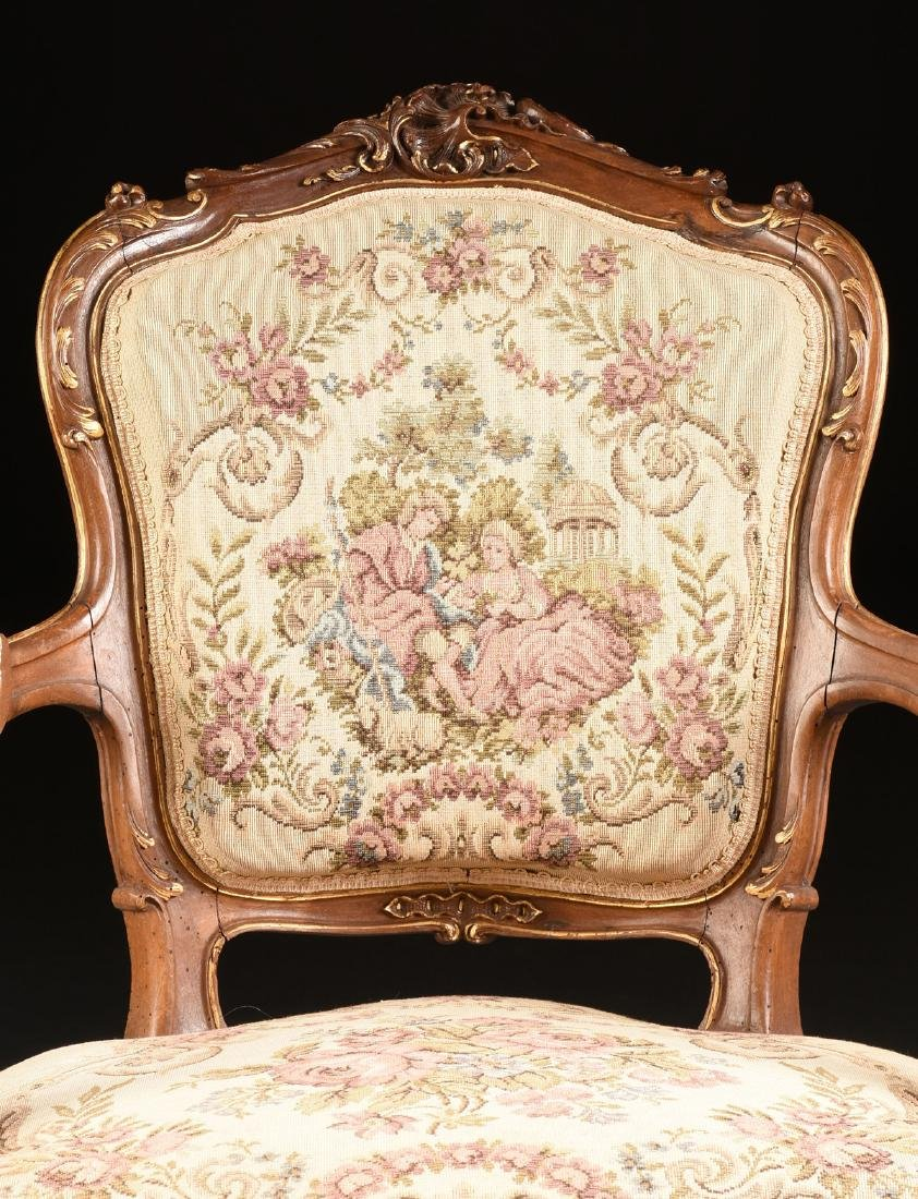 A PAIR OF LOUIS XV REVIVAL PARCEL GILT CARVED WALNUT - 4