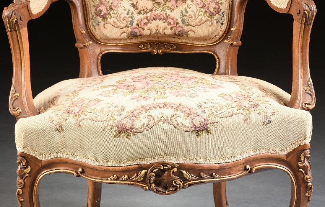 A PAIR OF LOUIS XV REVIVAL PARCEL GILT CARVED WALNUT - 6