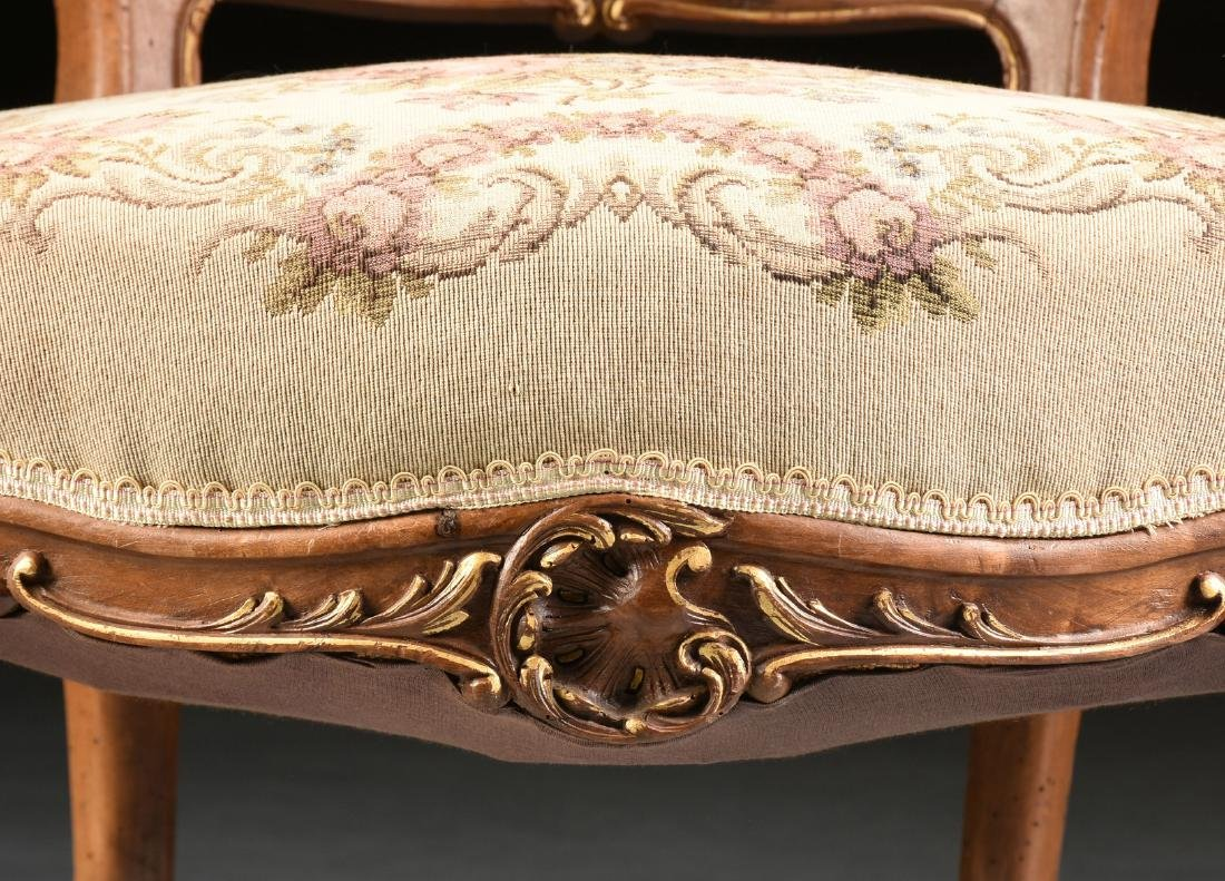 A PAIR OF LOUIS XV REVIVAL PARCEL GILT CARVED WALNUT - 8