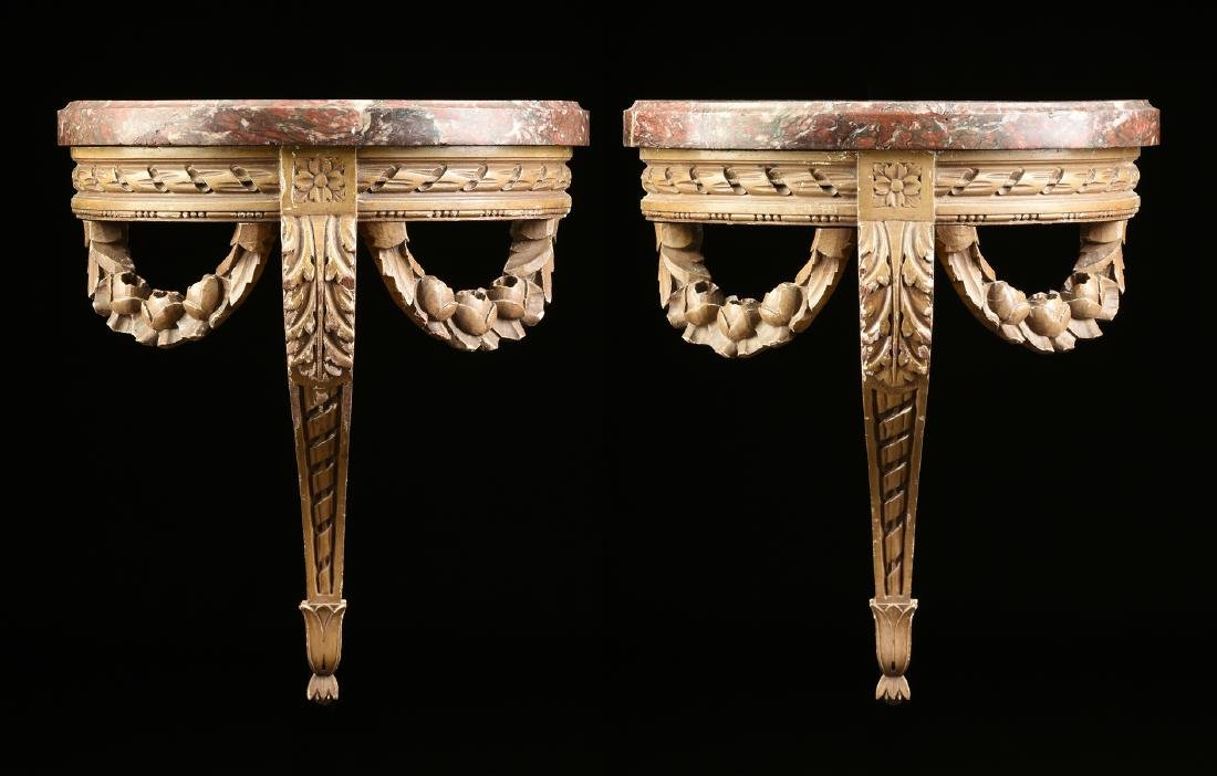 A PAIR OF DIMINUTIVE LOUIS XVI STYLE MARBLE TOPPED AND