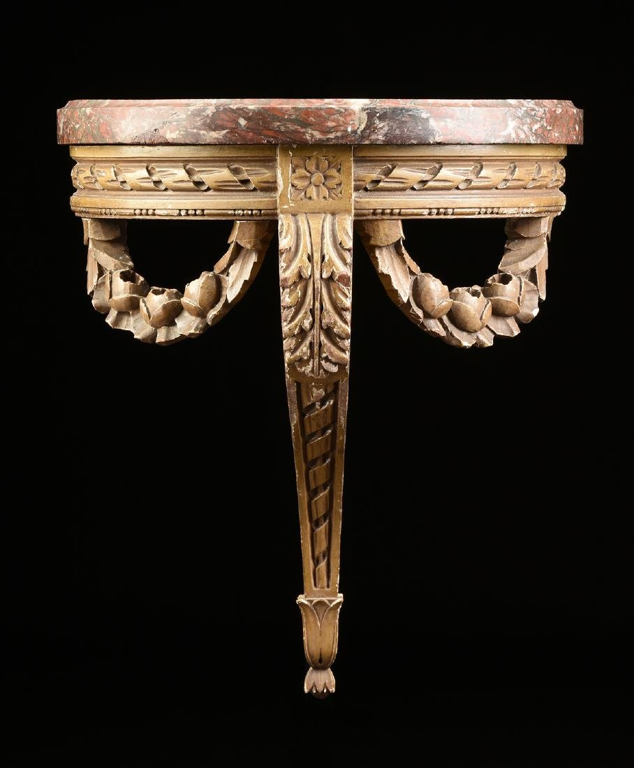 A PAIR OF DIMINUTIVE LOUIS XVI STYLE MARBLE TOPPED AND - 2