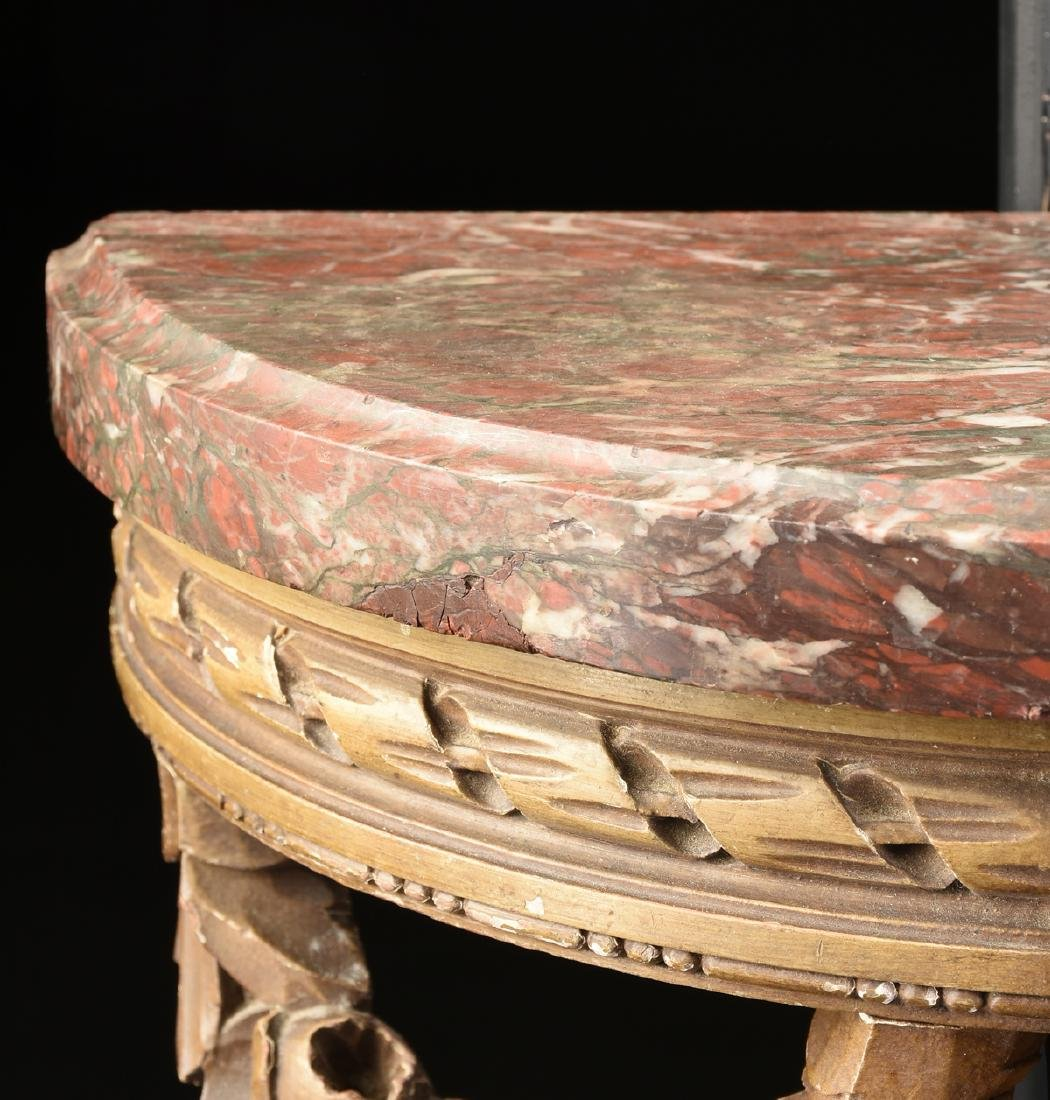 A PAIR OF DIMINUTIVE LOUIS XVI STYLE MARBLE TOPPED AND - 4