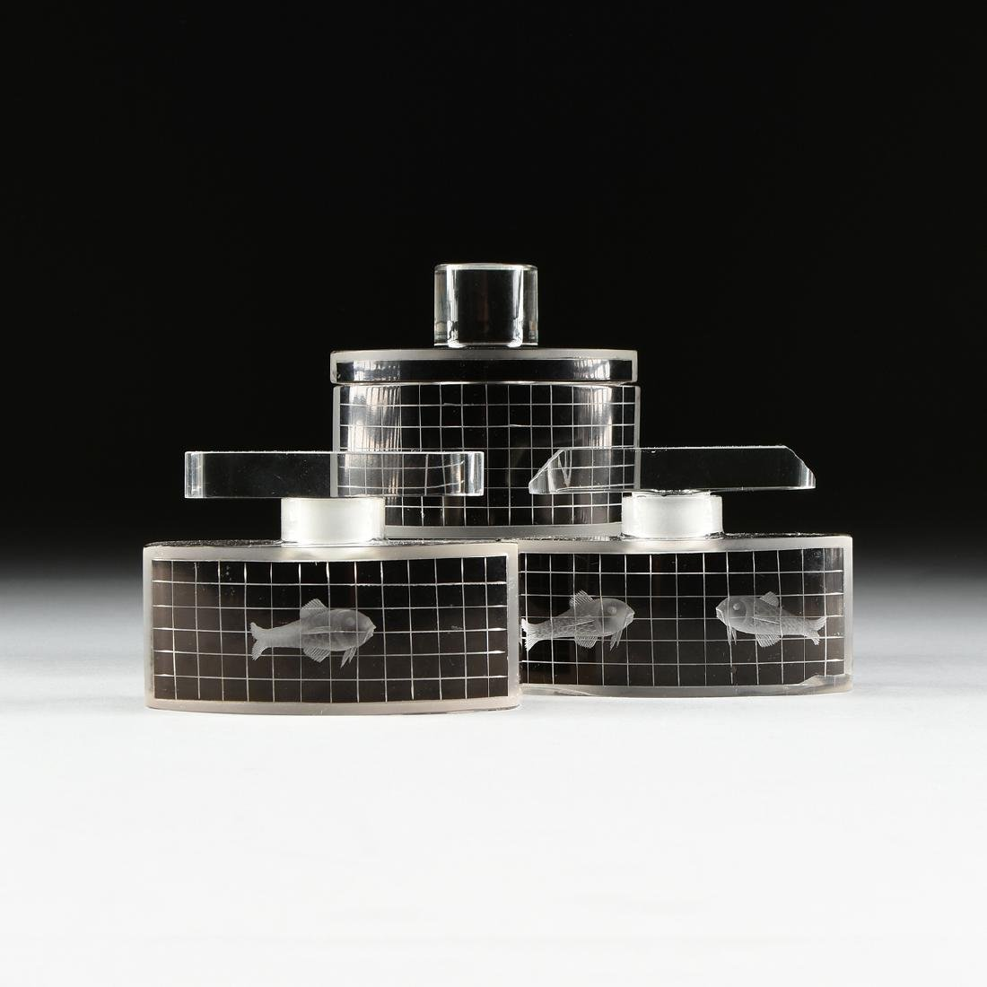A SET OF THREE ART DECO BLACK FLASHED AND TRANSPARENT