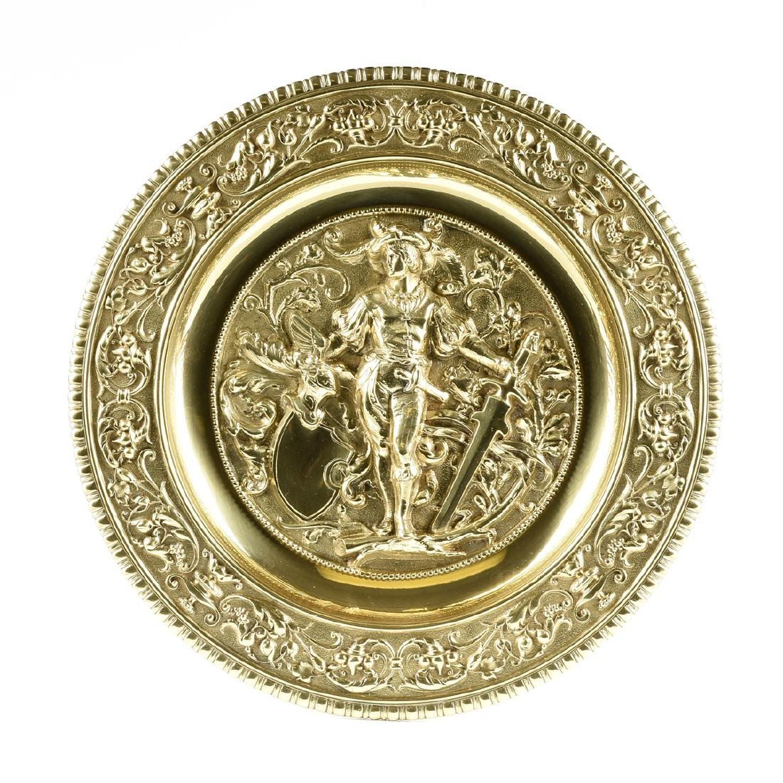 A DUTCH BAROQUE STYLE POLISHED CAST AND PLATED BRASS - 10