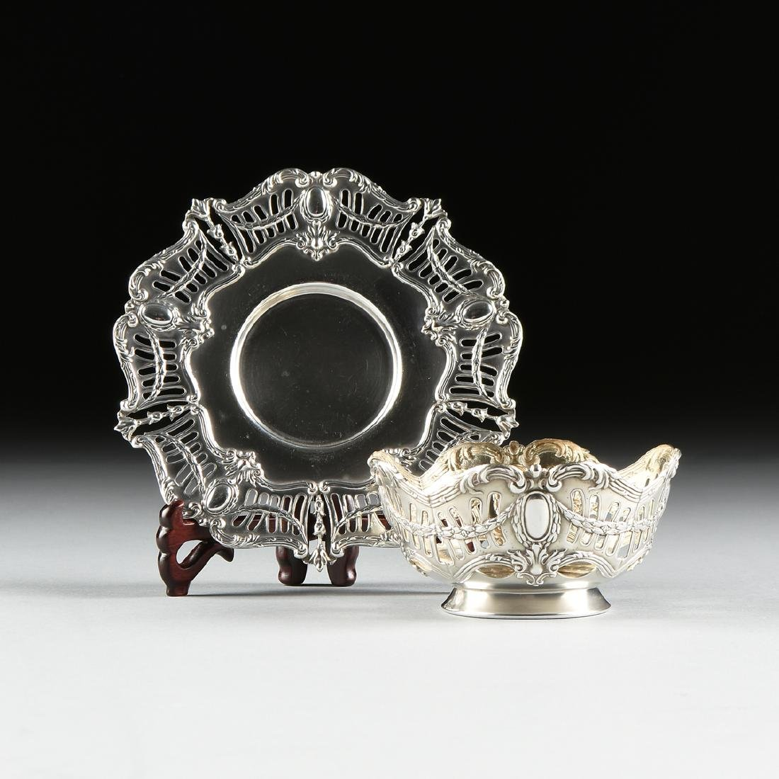 A GROUP OF SIX ENGLISH SILVER PLATED RETICULATED BOWLS
