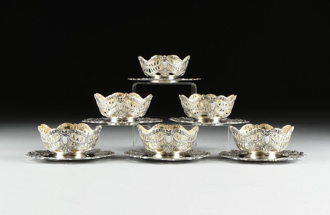 A GROUP OF SIX ENGLISH SILVER PLATED RETICULATED BOWLS - 2