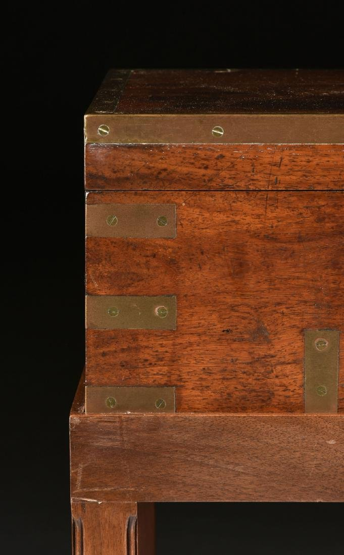 A VICTORIAN ANGLO-INDIAN BRASS BOUND CAMPHOR WOOD WORK - 2
