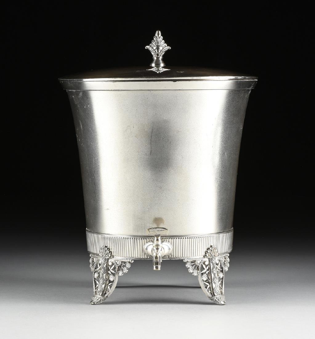 A JAMES W. TUFTS LARGE SILVER PLATE COVERED COLD WATER