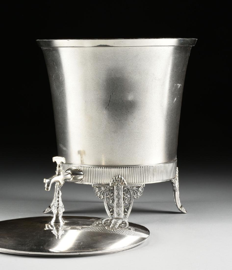 A JAMES W. TUFTS LARGE SILVER PLATE COVERED COLD WATER - 6