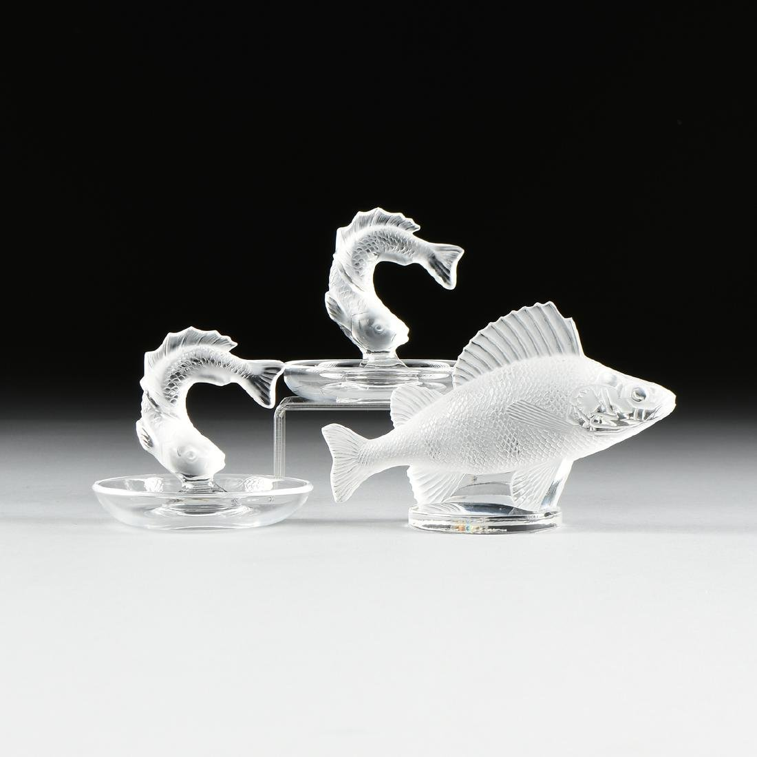 A GROUP OF THREE LALIQUE PARTIALLY FROSTED CRYSTAL