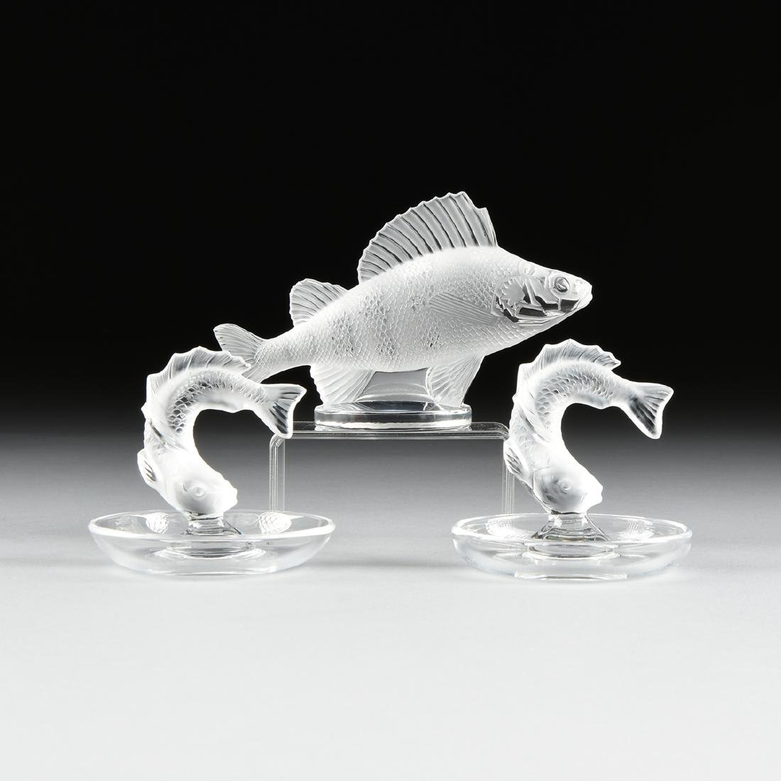 A GROUP OF THREE LALIQUE PARTIALLY FROSTED CRYSTAL - 2