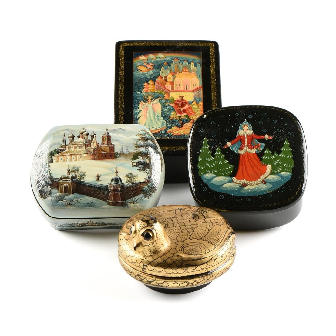 A GROUP OF FOUR PARCEL GILT LACQUER BOXES, RUSSIAN AND