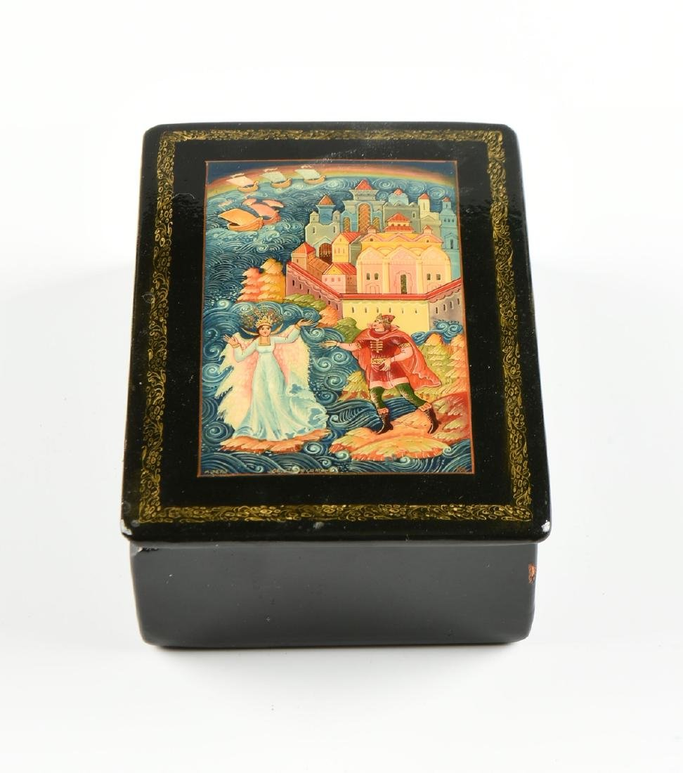 A GROUP OF FOUR PARCEL GILT LACQUER BOXES, RUSSIAN AND - 3