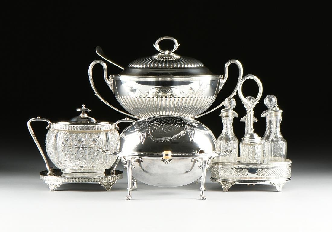 A GROUP OF FIVE SILVER PLATED SERVING PIECES, AMERICAN