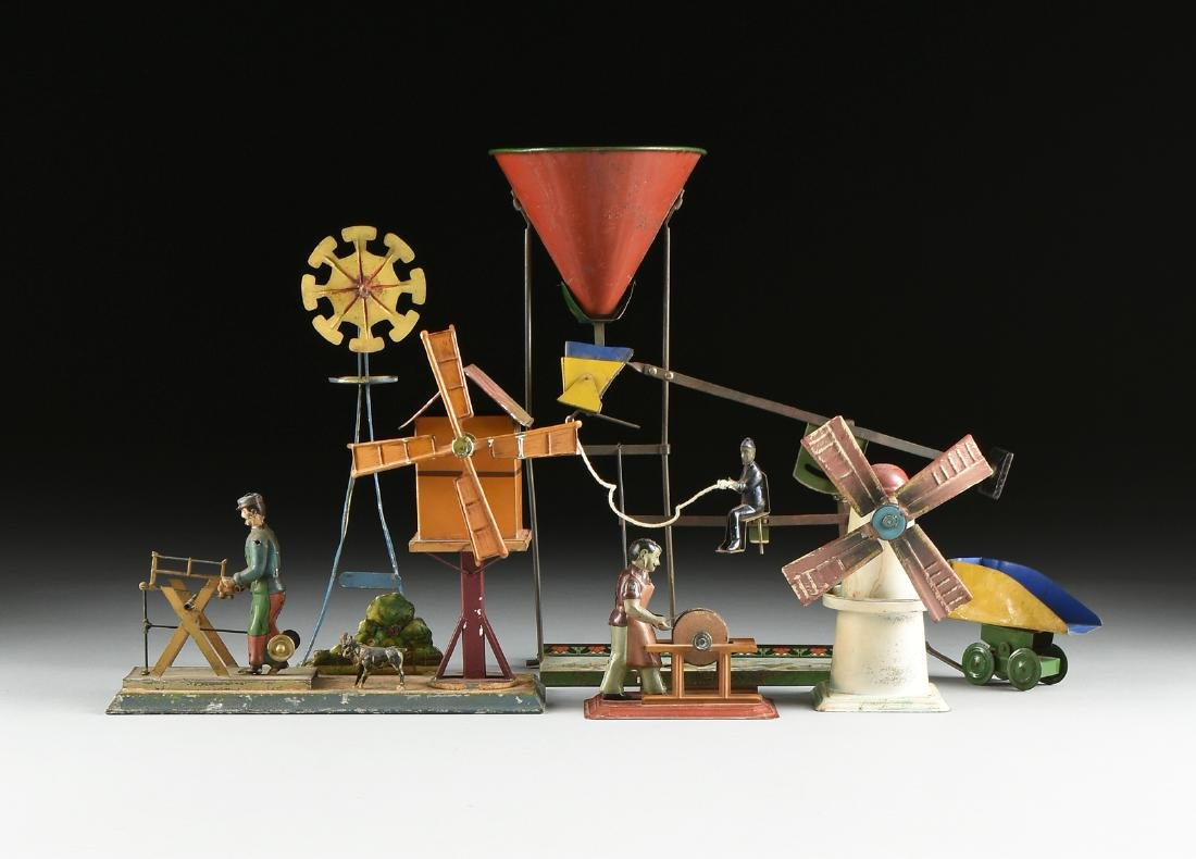 A GROUP OF SEVEN LITHOGRAPHED TIN WORKING MODEL STEAM